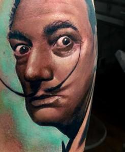 Salvador Dalì - Realistic Tattoo - Tatuaggi Realistici - Michele Agostini - Rome (Italy)