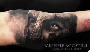 Leonida - 300 - Realistic Tattoo - Tatuaggi Realistici - Michele Agostini - Rome (Italy)