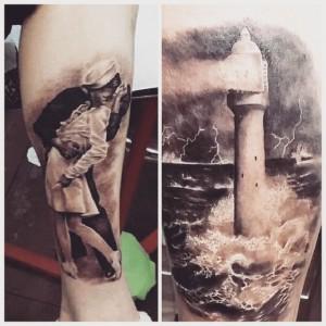 Lighthouse - Faro - Realistic Tattoo - Tatuaggi Realistici - Michele Agostini - Rome (Italy)